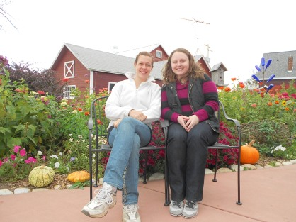 My friend and I enjoying the beautiful foliage at a Door County winery