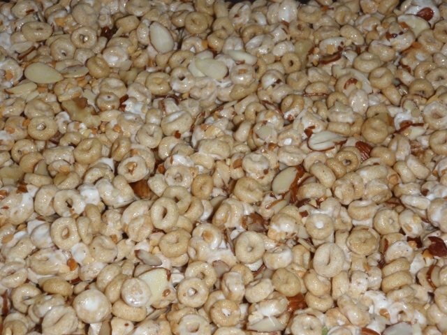 Cheerios, walnuts, pecans, peanuts and marshmallow